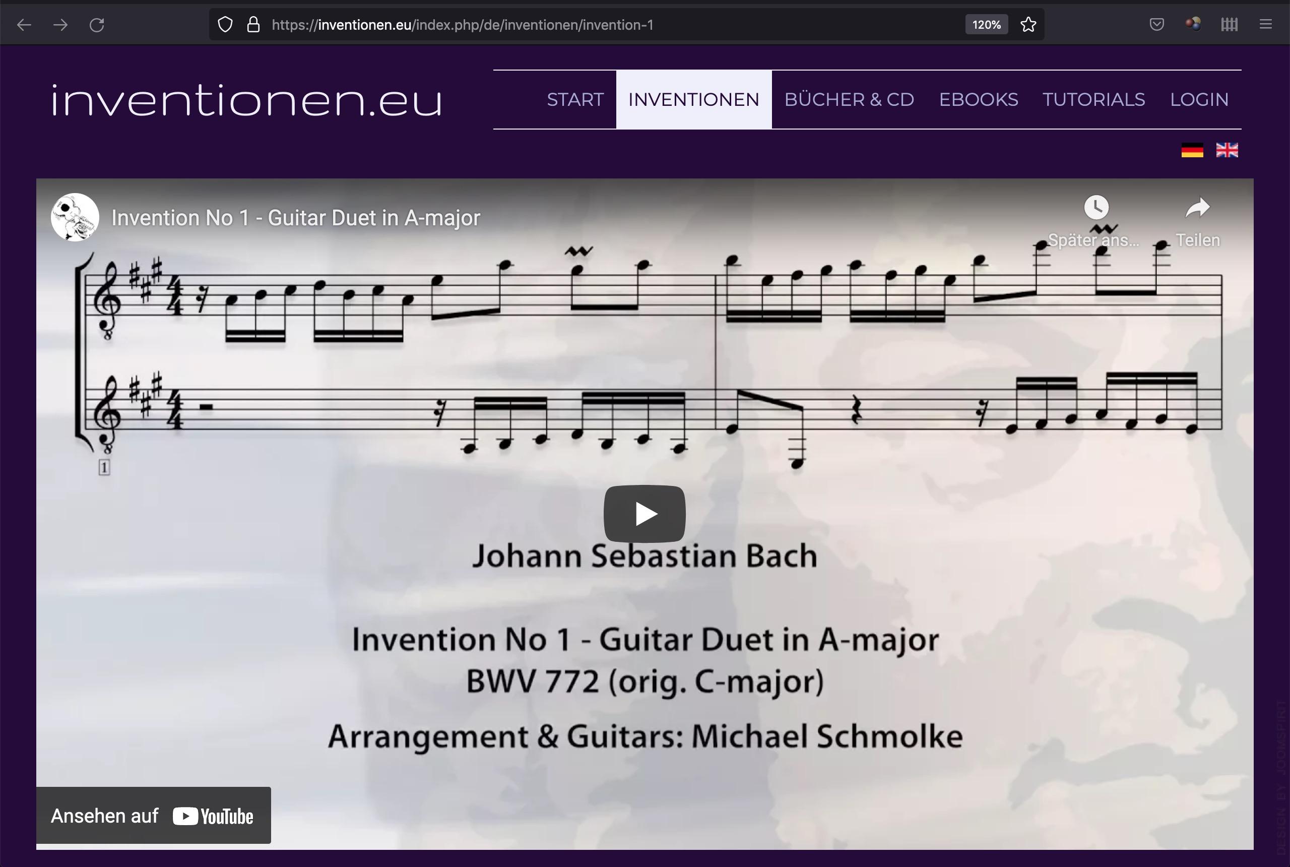 inventionen.eu - Die Website zu Bachs Inventionen für Gitarre